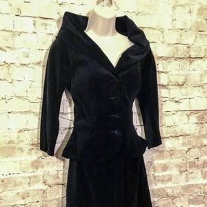 Incredible Vintage Hollywood Black Velvet Suit